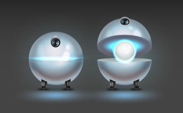 Conceito de assistente de robô esférico fictício com câmera isolada em fundo escuro
