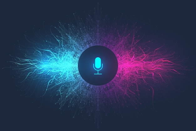 Conceito de assistente de voz. onda sonora. fundo de fluxo de onda do equalizador de reconhecimento de voz e som.