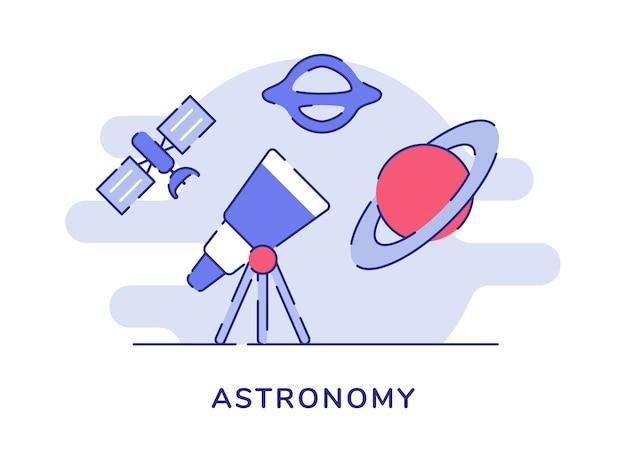 Conceito de astronomia telescópio satélite planeta galáxia branca