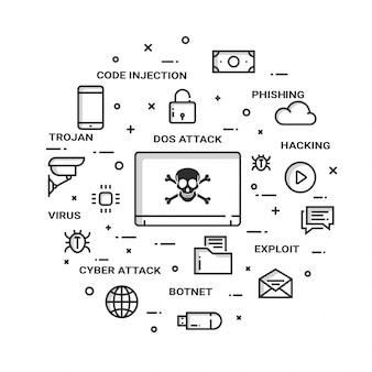 Conceito de ataques cibernéticos na internet, estilo plano. fin-tech (tecnologia financeira) de fundo.