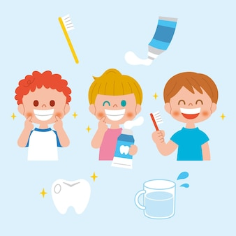 Conceito de atendimento odontológico de design plano