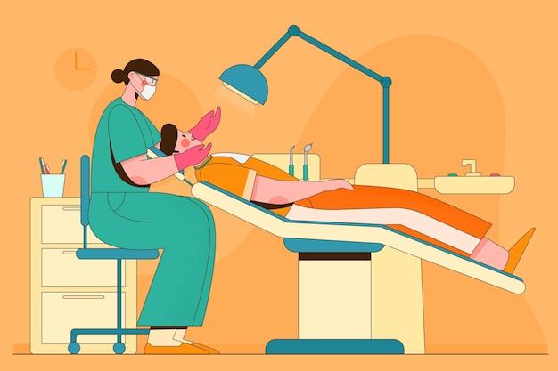 Conceito de atendimento odontológico ilustrado