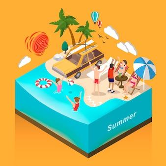 Conceito de atividade aquática de verão de design plano 3d isométrico