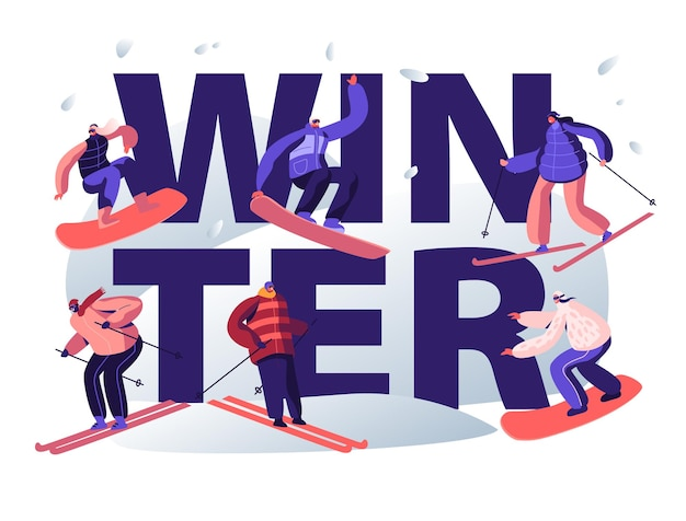 Conceito de atividade de esportes de inverno. ilustração plana dos desenhos animados