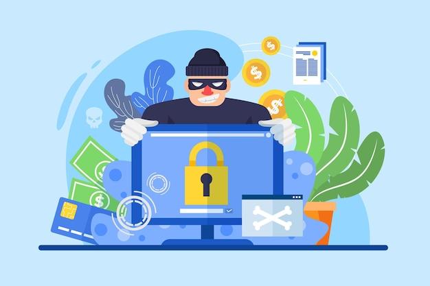 Conceito de atividade hacker com homem e computador