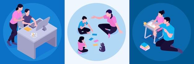 Conceito de atividades de educação domiciliar 3 composições isométricas com pais apoiando crianças estudando e organizando jogos de aprendizagem