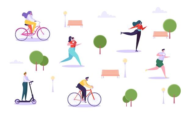Conceito de atividades de lazer ao ar livre. personagens ativos correndo no parque, homem e mulher andando de bicicleta, garota patinação, cara de patinete.