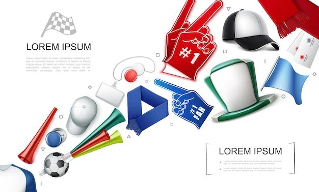 Conceito de atributos de fãs realistas com bandeiras espuma luvas chapéu boné emblemas lenço vuvuzela trompetes ingressos bola de futebol ilustração de camisa