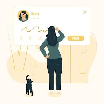 Conceito de atualização de status escrevendo uma ilustração de mensagem
