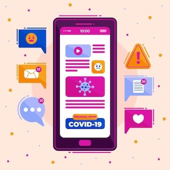Conceito de atualização do coronavirus em smartphone ilustrado