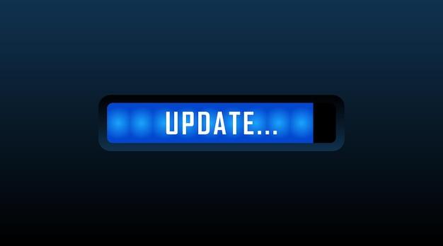 Conceito de atualização e atualização do software do sistema. carregando a tela do processo. ilustração vetorial.