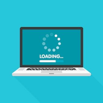 Conceito de atualização e atualização do software do sistema. processo de carregamento na tela do laptop. ilustração.