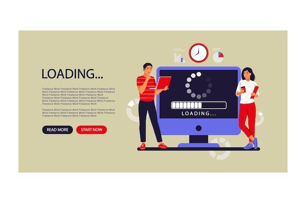 Conceito de atualização. programadores atualizando o sistema operacional do computador. página de destino. ilustração vetorial. plano