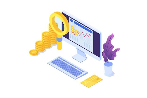 Conceito de auditoria de examinador de administração financeira com caracteres imposto e conta da empresa