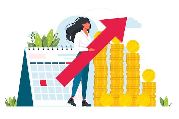 Conceito de auditoria. gestão financeira profissional. pesquisa e análise de operações de negócios. inspeção financeira e analytics.woman no fundo de uma pilha de moedas de dinheiro e calendário. vetor