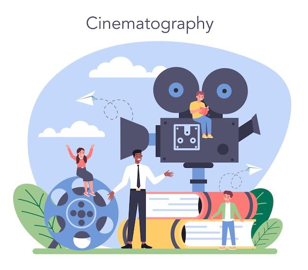 Conceito de aula de drama. assunto criativo de crianças, jogo escolar. criança estudando atuação no palco, arte dramática e cinematografia.
