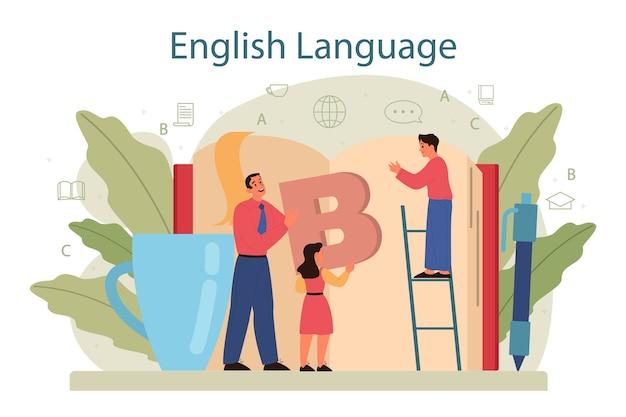 Conceito de aula de inglês em design plano