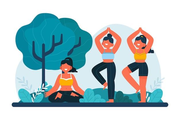 Conceito de aula de ioga ao ar livre