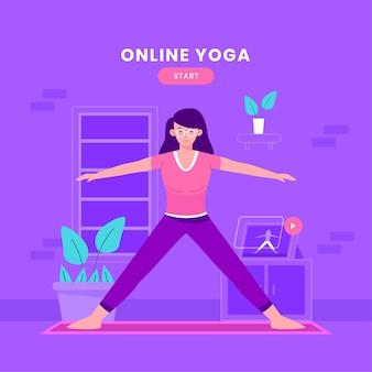 Conceito de aula de ioga on-line plana