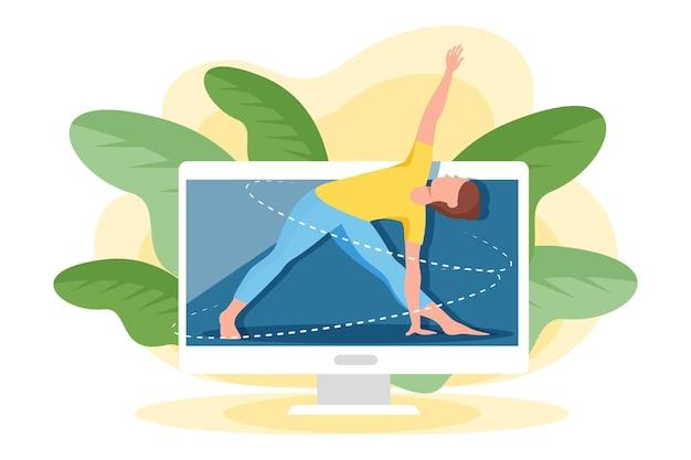 Conceito de aula de ioga on-line