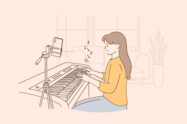 Conceito de aula de música distante remoto