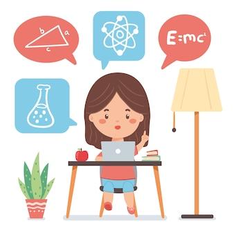 Conceito de aulas on-line de crianças