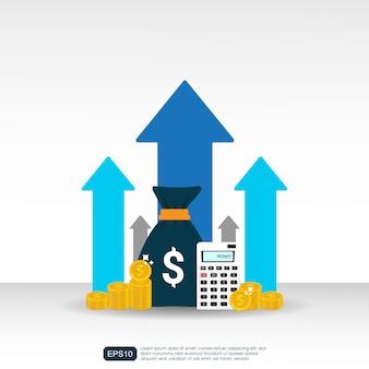 Conceito de aumento de taxa de salário de renda com símbolo de setas.
