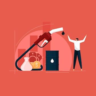 Conceito de aumento do preço do combustível, aumento do preço do petróleo aumentou os custos do barril de petróleo