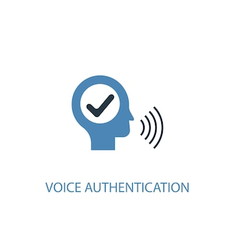 Conceito de autenticação de voz 2 ícone colorido. ilustração do elemento azul simples. design de símbolo de conceito de autenticação de voz. pode ser usado para ui / ux da web e móvel