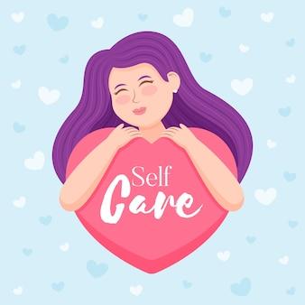 Conceito de auto-cuidado com mulher