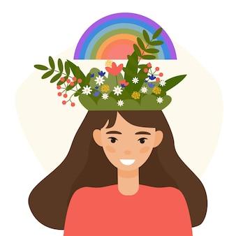 Conceito de autocuidado. pensamento positivo e ilustração do estilo simples do conceito de saúde mental. Vetor Premium