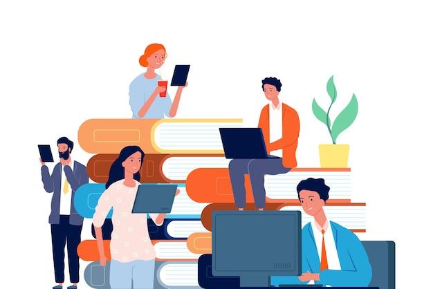 Conceito de autoeducação. os alunos preparam exames, lendo livros e cursos online. ilustração do vetor de treinamento e ensino à distância. livro de educação online, curso universitário de internet