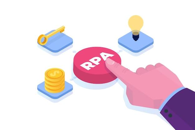 Conceito de automação de processos robóticos. botão de pressão manual com inscrição rpa.