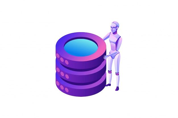 Conceito de automação de processos robóticos com robô e banco de dados