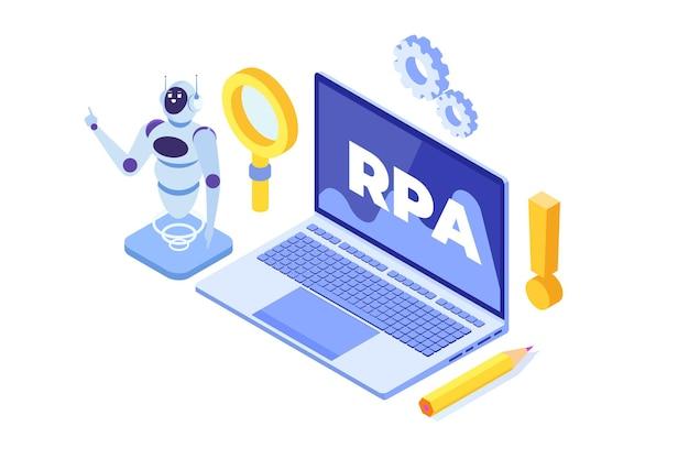 Conceito de automação de processos robóticos, rpa. robot ou chat bot ajuda as pessoas em diferentes tarefas.
