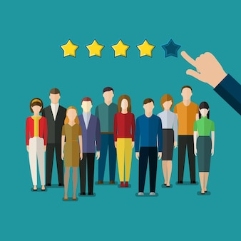 Conceito de avaliação de ilustração de design plano de equipe