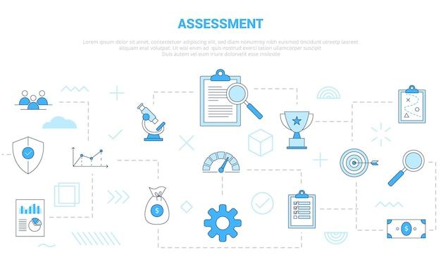 Conceito de avaliação de negócios com banner de modelo de conjunto de ícones com estilo moderno de cor azul