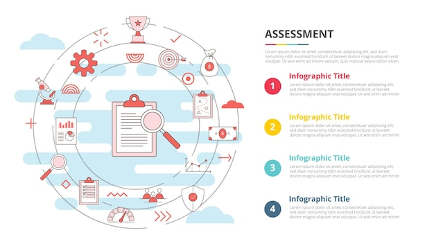 Conceito de avaliação de negócios para banner de modelo de infográfico com informações de lista de quatro pontos