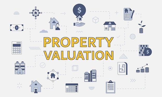 Conceito de avaliação de propriedade com conjunto de ícones com palavra grande ou texto no centro