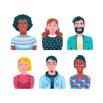 Conceito de avatares de pessoas ilustradas