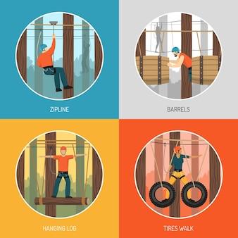 Conceito de aventura ao ar livre do curso de cordas 4 ícones planos com tirolesa e ilustração de caminhada com pneus