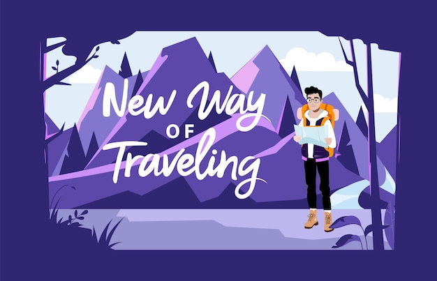 Conceito de aventura, caminhadas e camping de fim de semana. turista de personagem masculino com mochila, olhando o mapa e planejando uma rota. personagem masculino indo caminhada nas montanhas.