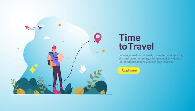 Conceito de aventura de viagem de mochileiro. tema de férias ao ar livre de caminhadas, escaladas e trekking