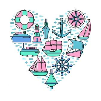 Conceito de aventura do mar com elementos na composição de forma de coração