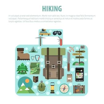 Conceito de bagagem de caminhadas em forma de composição de ícones