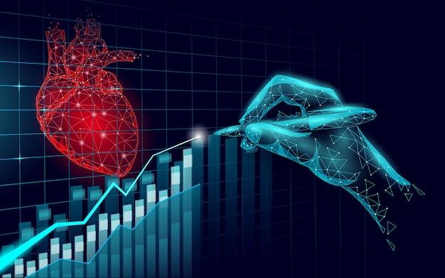 Conceito de baixo poli medicina 3d ciência do coração