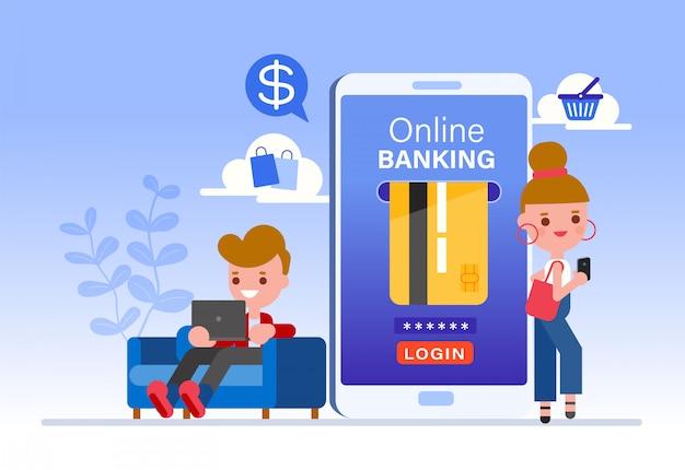 Conceito de banca on-line, personagem de desenho animado de pessoas fazendo o pagamento com cartão de crédito no smartphone e laptop. compras para celular