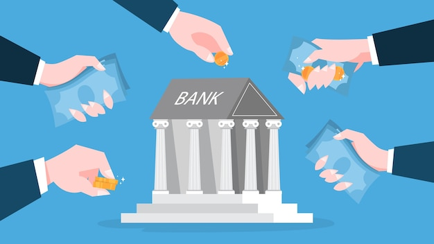 Conceito de banco. ideia de finanças, investimento de dinheiro Vetor Premium