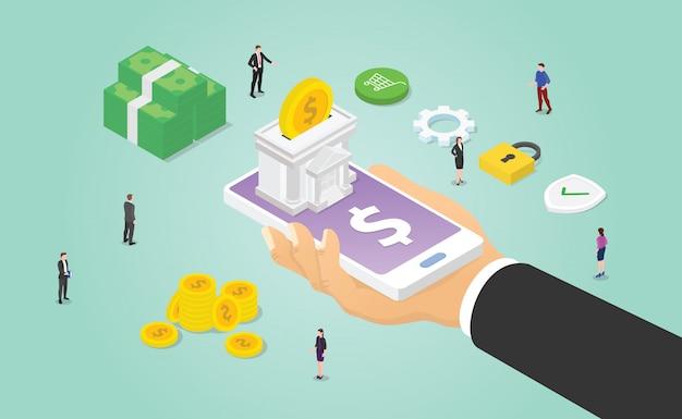 Conceito de banco móvel com smartphone e mão segure aplicativos com uma pilha de dinheiro e pessoas com estilo isométrico moderno