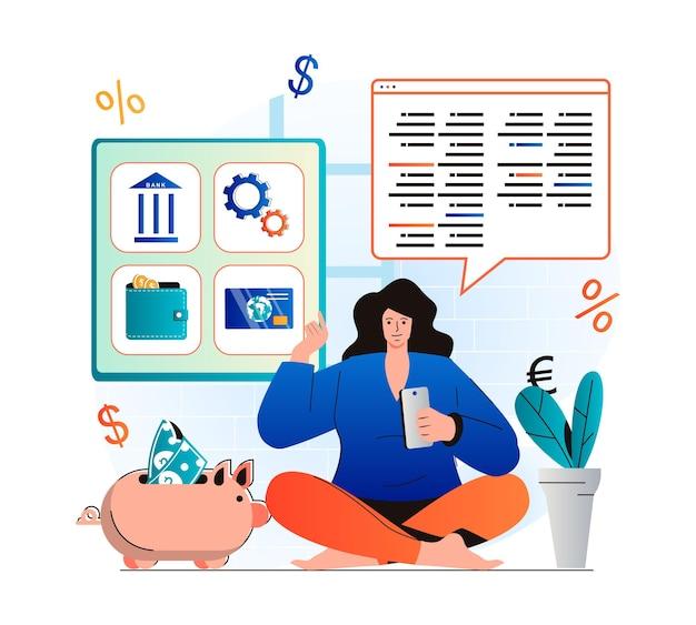 Conceito de banco móvel em design plano moderno mulher tem carteira eletrônica de conta financeira